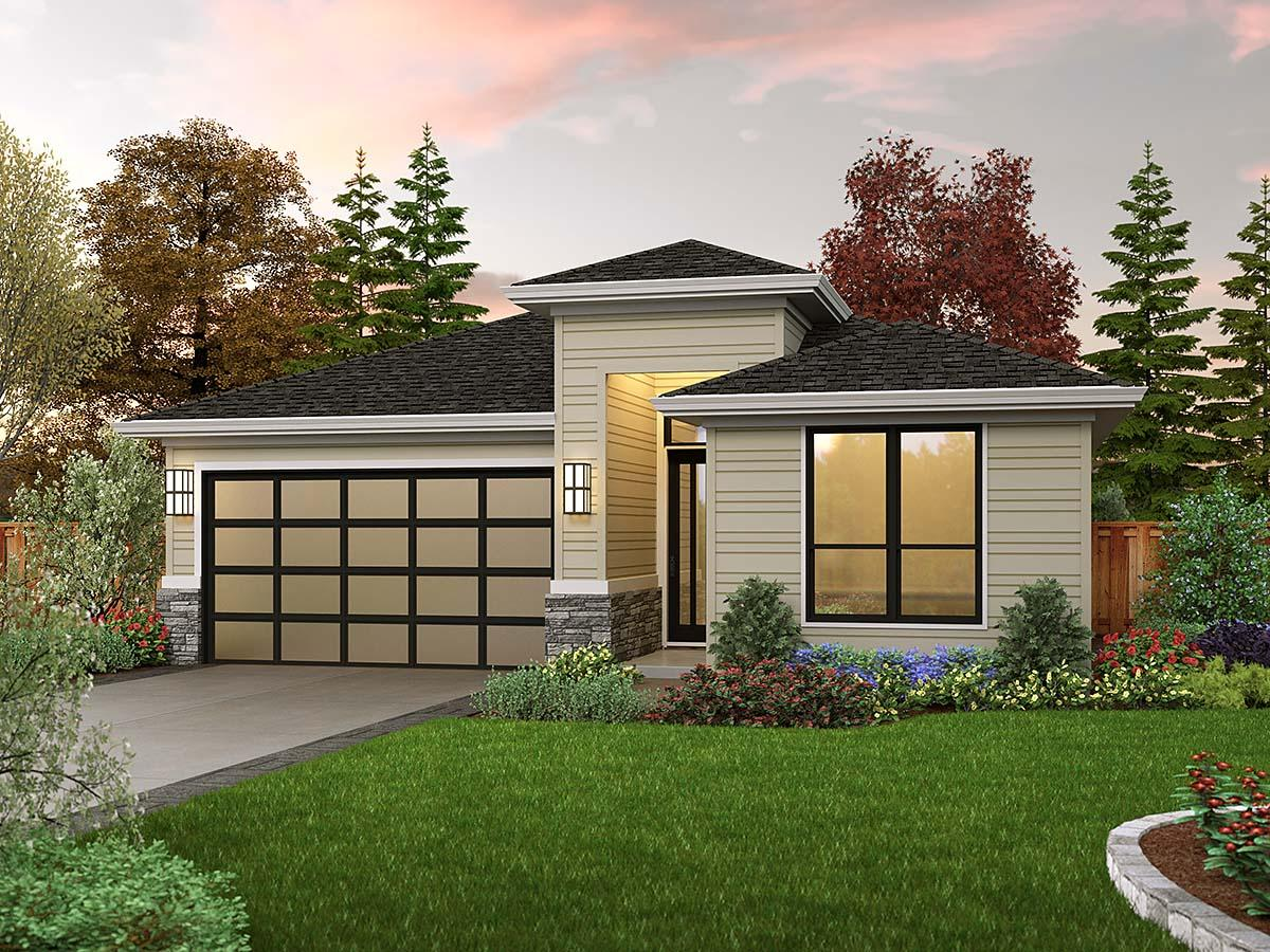 Contemporary, Prairie House Plan 81311 with 3 Beds, 2 Baths, 2 Car Garage Elevation