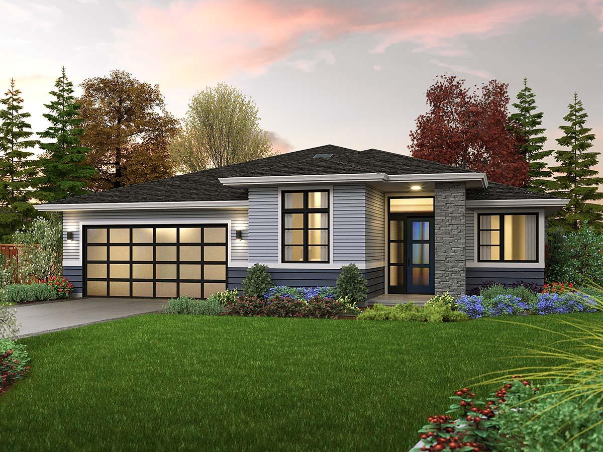 Prairie, Ranch House Plan 81312 with 3 Beds, 2 Baths, 2 Car Garage Elevation