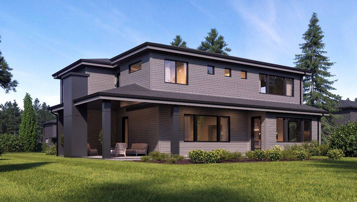 Contemporary, Modern House Plan 81935 with 4 Beds, 3 Baths, 2 Car Garage Rear Elevation