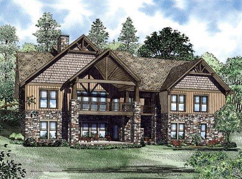 Craftsman, Ranch House Plan 82222 with 7 Beds, 6 Baths, 3 Car Garage Rear Elevation
