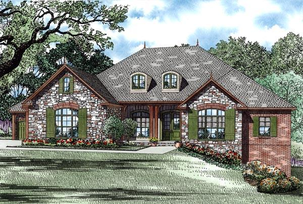Country, European, Traditional House Plan 82246 with 4 Beds, 3 Baths, 3 Car Garage Elevation