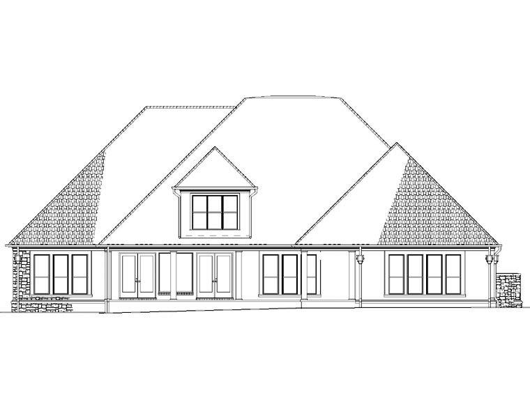 House Plan 82297 with 4 Beds, 4 Baths, 3 Car Garage Rear Elevation