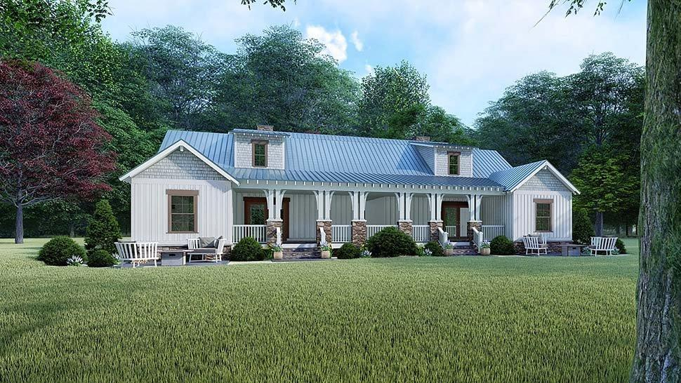 Bungalow, Country, Craftsman, Farmhouse Multi-Family Plan 82524 with 4 Beds, 3 Baths Rear Elevation