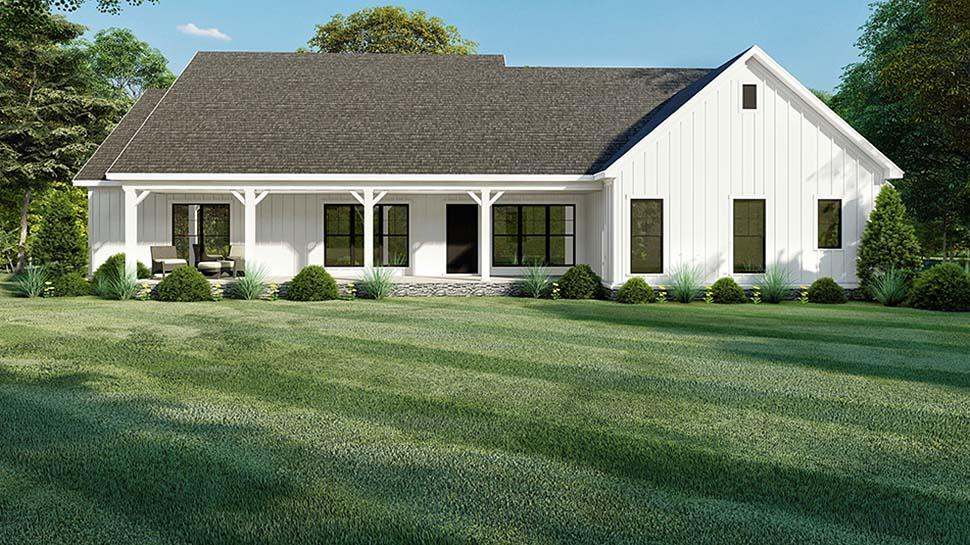 Bungalow, Craftsman, Farmhouse, One-Story House Plan 82560 with 4 Beds, 4 Baths, 2 Car Garage Rear Elevation