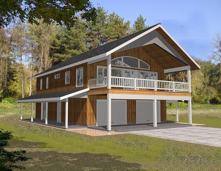 Contemporary, Traditional 2 Car Garage Apartment Plan 85263 with 2 Beds, 2 Baths Elevation