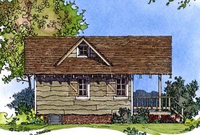 Cabin, Craftsman, Narrow Lot, One-Story House Plan 86025 with 1 Beds, 1 Baths Rear Elevation