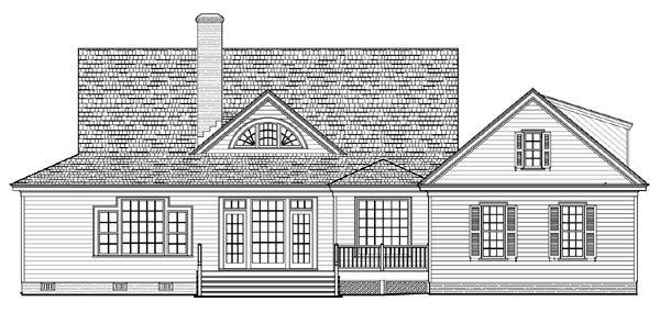 Cottage, Country, Farmhouse, Traditional House Plan 86226 with 4 Beds, 3 Baths, 2 Car Garage Rear Elevation