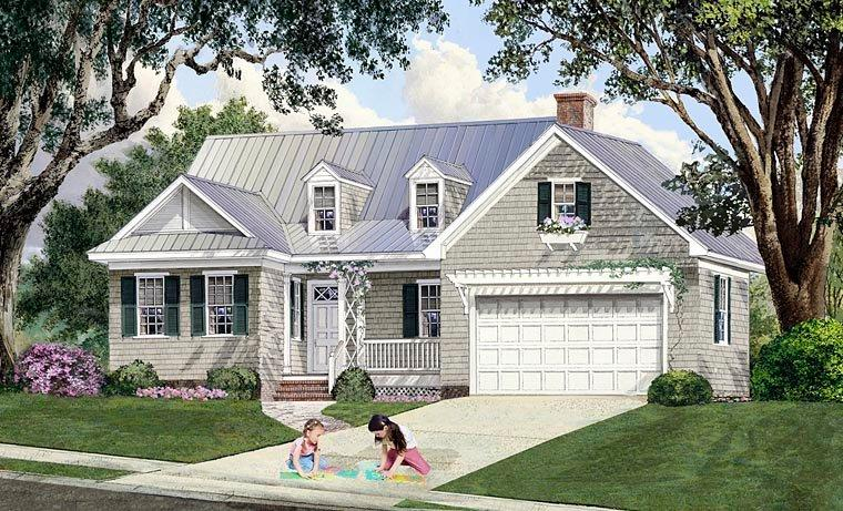 Cape Cod, Cottage, Country, Craftsman, Southern House Plan 86348 with 4 Beds, 4 Baths, 2 Car Garage Elevation
