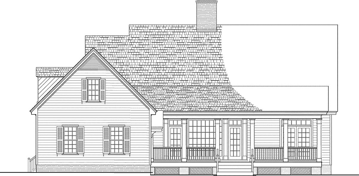 Cottage, Country, Southern House Plan 86354 with 3 Beds, 3 Baths, 2 Car Garage Rear Elevation