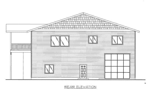 5 Car Garage Apartment Plan 86554 with 2 Beds, 3 Baths Rear Elevation