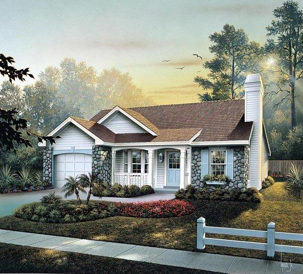 Cabin, Cottage, Country, Ranch, Traditional House Plan 86990 with 3 Beds, 2 Baths, 1 Car Garage Elevation