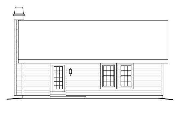 Cabin, Cottage, Country, Ranch, Traditional House Plan 86990 with 3 Beds, 2 Baths, 1 Car Garage Rear Elevation