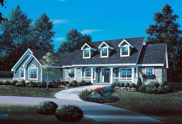 Cape Cod, Country, Ranch, Southern, Traditional House Plan 86998 with 3 Beds, 4 Baths, 2 Car Garage Elevation