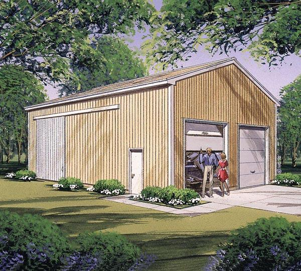4 Car Garage Plan 87869 Elevation