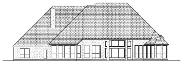European House Plan 87933 with 4 Beds, 4 Baths, 3 Car Garage Rear Elevation