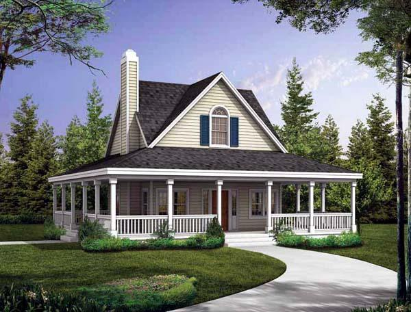 Country, Farmhouse, Southern House Plan 90234 with 2 Beds, 3 Baths Elevation