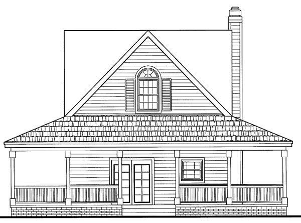 Country, Farmhouse, Southern House Plan 90234 with 2 Beds, 3 Baths Rear Elevation