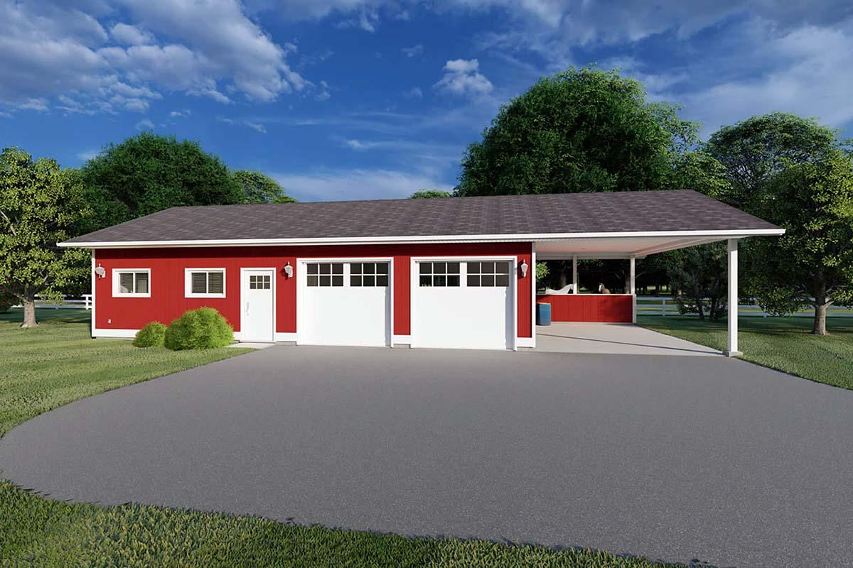 3 Car Garage Plan 90993 Elevation