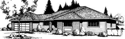 Prairie, Southwest House Plan 91667 with 3 Beds, 2 Baths, 2 Car Garage Elevation