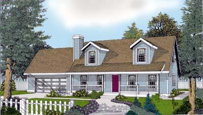 Cape Cod, Country, Farmhouse House Plan 91830 with 3 Beds, 3 Baths, 2 Car Garage Elevation