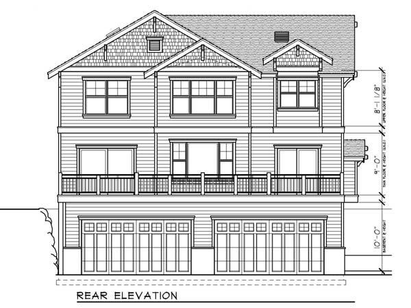 Bungalow, Craftsman House Plan 91885 with 5 Beds, 3 Baths, 4 Car Garage Rear Elevation