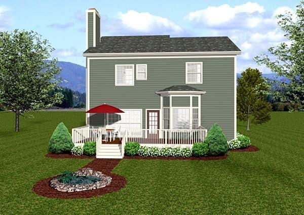 Craftsman House Plan 92384 with 3 Beds, 4 Baths, 2 Car Garage Rear Elevation