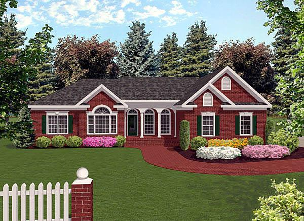 European, Ranch, Traditional House Plan 92421 with 3 Beds, 3 Baths, 3 Car Garage Elevation