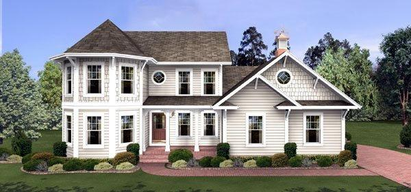 Colonial, Victorian House Plan 92462 with 4 Beds, 3 Baths, 3 Car Garage Elevation