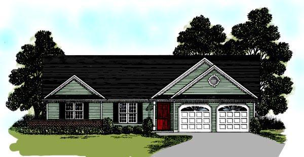 One-Story, Ranch House Plan 92487 with 3 Beds, 2 Baths, 2 Car Garage Elevation
