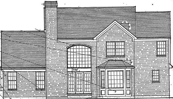 Bungalow, European House Plan 92629 with 4 Beds, 3 Baths, 2 Car Garage Rear Elevation