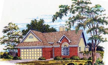 European, Ranch House Plan 93006 with 3 Beds, 2 Baths, 2 Car Garage Elevation