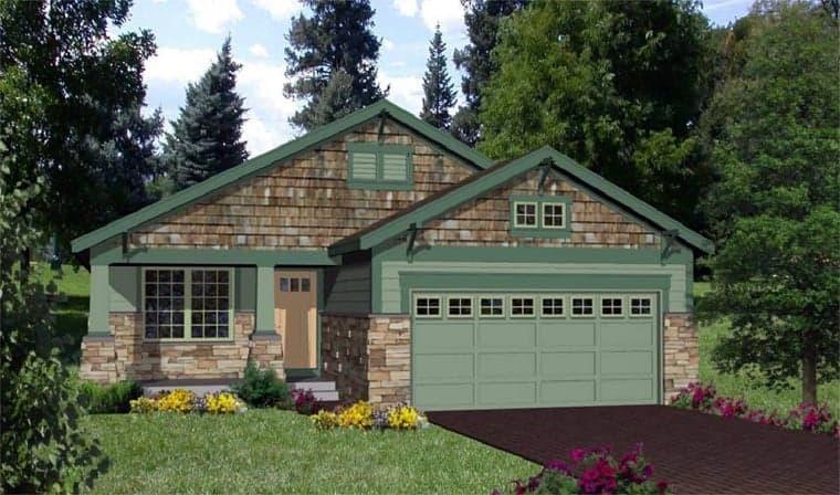 Craftsman House Plan 94472 with 3 Beds, 2 Baths, 2 Car Garage Elevation