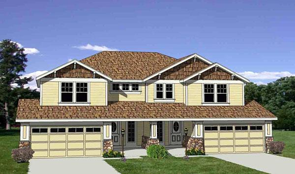 Craftsman Multi-Family Plan 94479 with 6 Beds, 6 Baths, 4 Car Garage Elevation