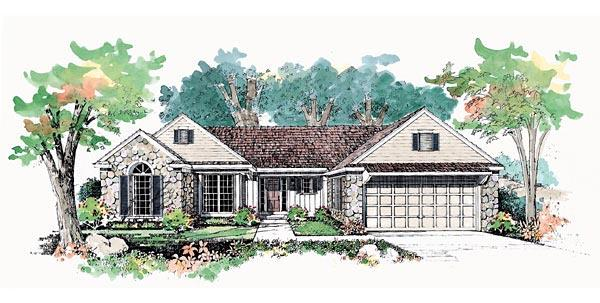 Ranch House Plan 95189 with 3 Beds, 3 Baths, 2 Car Garage Elevation
