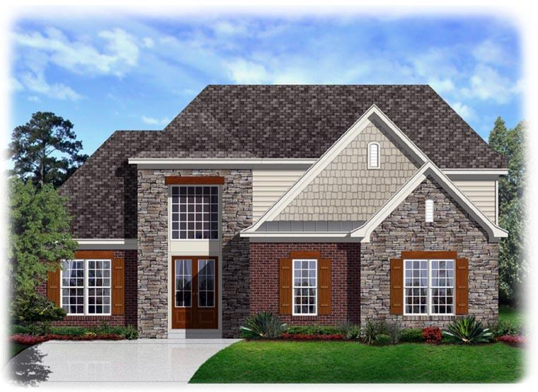 Traditional House Plan 95322 with 4 Beds, 3 Baths, 2 Car Garage Elevation