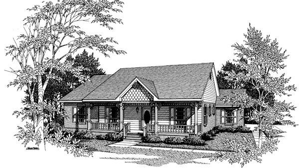 Bungalow, One-Story House Plan 96517 with 3 Beds, 2 Baths, 2 Car Garage Elevation