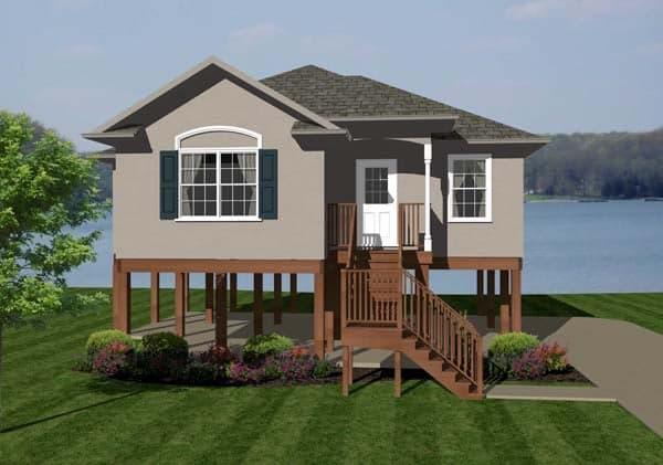 Coastal House Plan 96705 with 2 Beds, 2 Baths Elevation