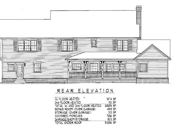 Country, Farmhouse House Plan 96840 with 5 Beds, 3 Baths, 2 Car Garage Rear Elevation