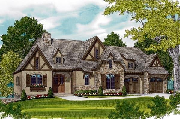 European House Plan 97047 with 3 Beds, 4 Baths, 2 Car Garage Elevation