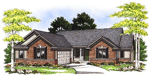 Ranch House Plan 97183 with 3 Beds, 3 Baths, 2 Car Garage Elevation