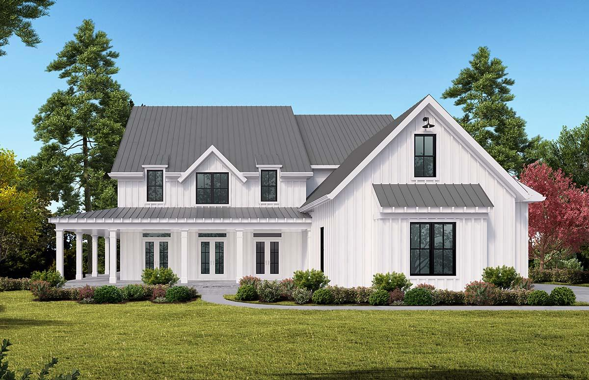 Country, Farmhouse, Ranch, Southern House Plan 97653 with 5 Beds, 4 Baths, 3 Car Garage Elevation
