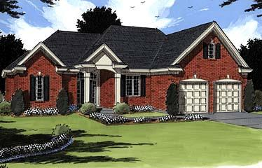 Colonial, European House Plan 97776 with 3 Beds, 3 Baths, 2 Car Garage Elevation
