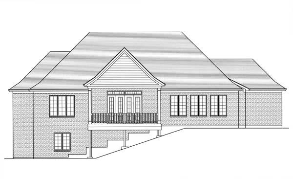 Traditional House Plan 98607 with 3 Beds, 3 Baths, 3 Car Garage Rear Elevation