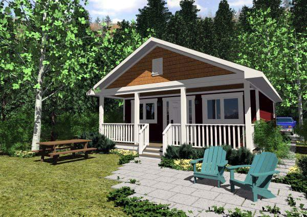 Cottage House Plan 99971 with 1 Beds, 1 Baths Elevation