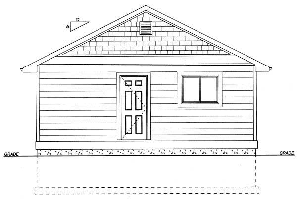 Cottage House Plan 99971 with 1 Beds, 1 Baths Rear Elevation