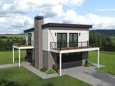 Garage-Living Plan 40862
