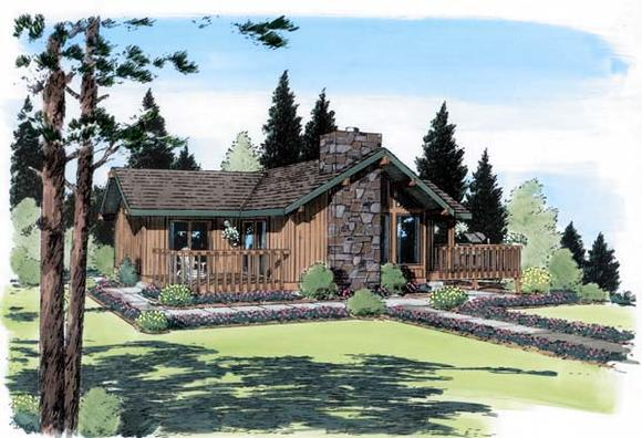 Cabin, Contemporary House Plan 24311 with 2 Beds, 2 Baths Elevation