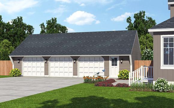 Cape Cod, Saltbox, Traditional 3 Car Garage Plan 30023 Elevation
