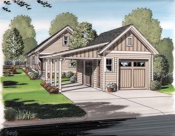 Craftsman, Farmhouse, Traditional 2 Car Garage Plan 30505 Elevation