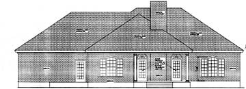 Colonial, European House Plan 40021 with 3 Beds, 2 Baths, 2 Car Garage Rear Elevation